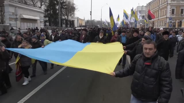 Thousands of supporters of deported former Georgian leader Mikheil Saakashvili march through the streets of Kiev demanding the impeachment of the...