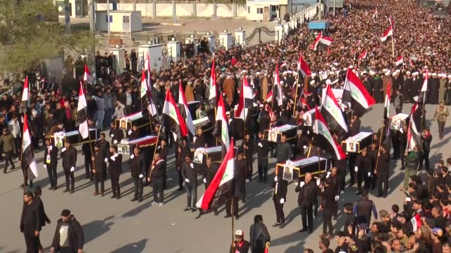thousands of supporters of firebrand shia cleric muqtada alsadr stage a funeral procession in baghdad for four prosadr demonstrators killed this... - muqtada al sadr stock videos & royalty-free footage