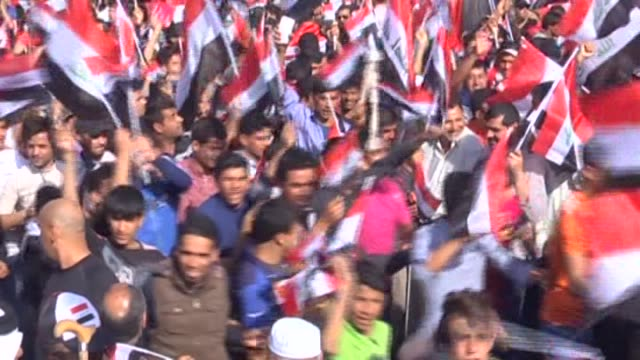 thousands of supporters of iraqi shiite cleric muqtada alsadr gather at the at tahrir square to demand governmental reforms during an antigovernment... - muqtada al sadr stock videos & royalty-free footage