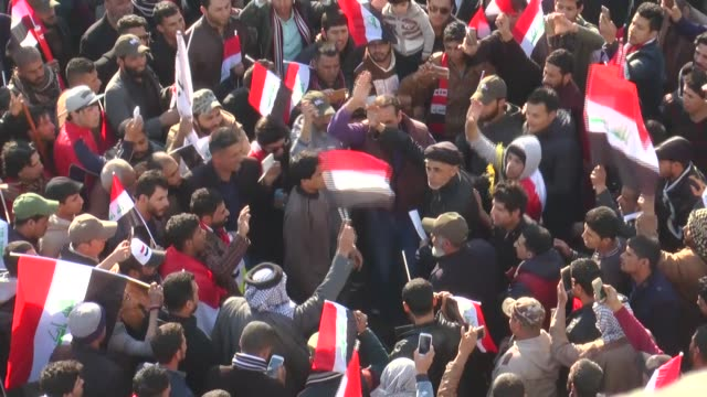 thousands of supporters of shia cleric muqtada alsadr stage a protest to demand the dissolution of iraq's high electoral commission at tahrir square... - muqtada al sadr stock videos & royalty-free footage