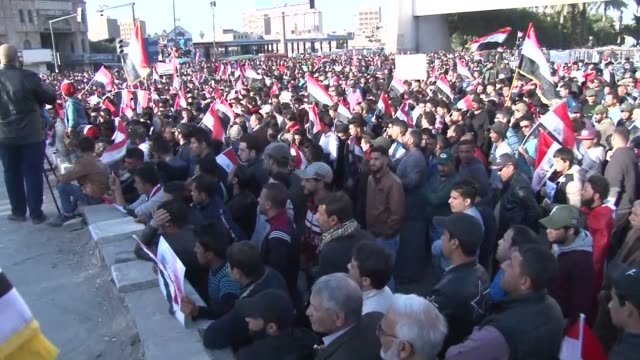 thousands of supporters of shia cleric muqtada alsadr stage a protest against iraqi government at tahrir square in baghdad iraq on february 24 2017 - muqtada al sadr stock videos & royalty-free footage