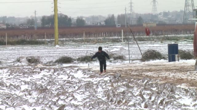 thousands of syrian refugees living in makeshift camps in lebanon were weathering a winter storm on wednesday that brought snow, rain and freezing... - lebanon country stock videos & royalty-free footage