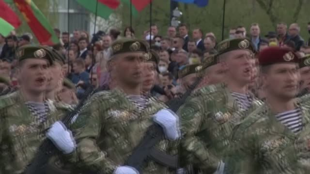 thousands of troops parade before crowds of spectators in minsk to mark 75 years since the defeat of nazi germany as belarus holds victory day... - belarus stock videos & royalty-free footage