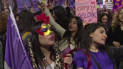 thousands of turkish women march in central istanbul on the 42nd international women's rights day before being pushed back by policemen - turkey middle east stock videos & royalty-free footage