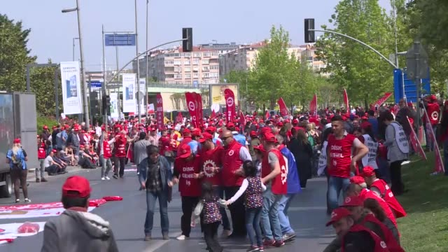 thousands of unions, workers and activists worldwide on may 01, 2019 are marking the international workers' day, also known as may day in istanbul... - istanbul province stock videos & royalty-free footage
