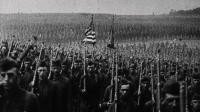 thousands of us soldiers march past camera / france - 1917 stock videos & royalty-free footage