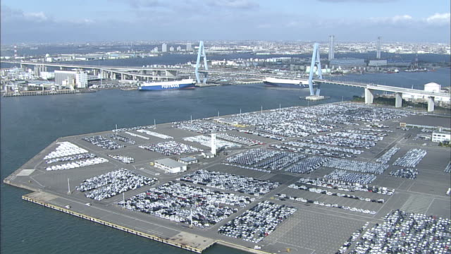 Thousands of vehicles are parked on Aichi Port.