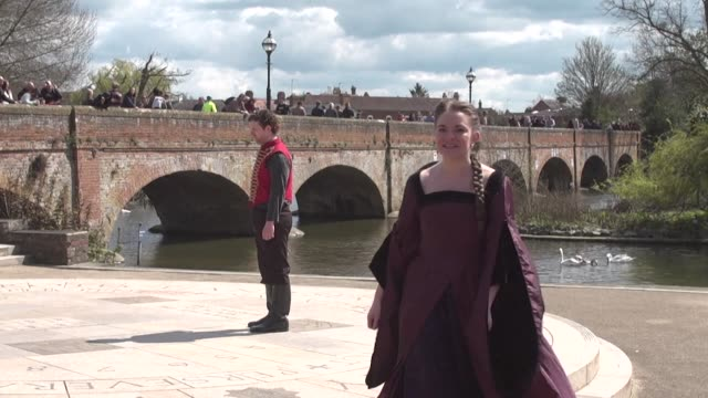 thousands of william shakespeare fans gather at the bards hometown stratford upon avon for the 400th anniversary of his death - hometown stock videos and b-roll footage