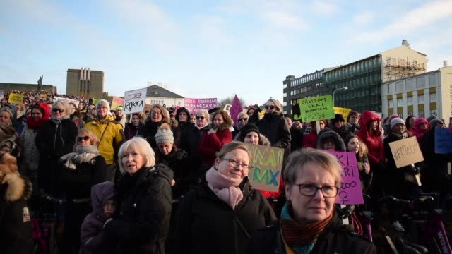 thousands of women across iceland walk off the job to demonstrate for the right to equal pay in an event that takes place regularly on october 24 - equality stock videos & royalty-free footage