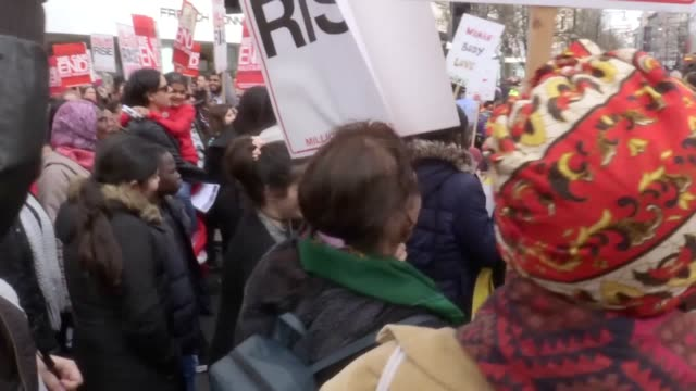 Thousands of women brought central London to a standstill to protest over violence against women and girls days after International Women's Day...