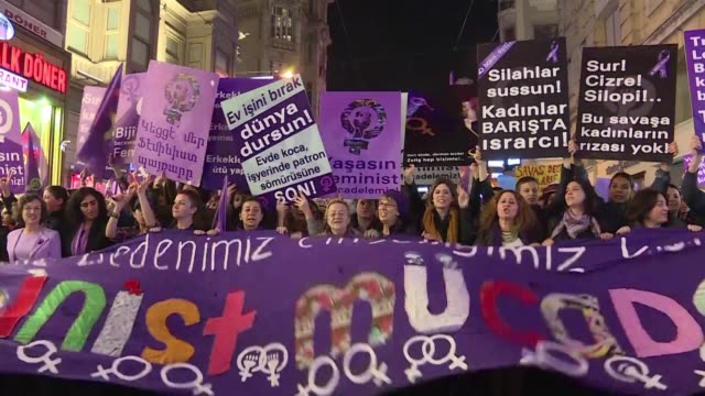 thousands of women in istanbul march against male hegemony in turkish society on international womens day which turkish president reccep tayyip... - recep tayyip erdoğan stock videos & royalty-free footage