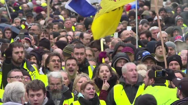 thousands of yellow vests protest in lille on the act 9 of the demonstration which distinctly increased in numbers since last week - lille stock videos & royalty-free footage