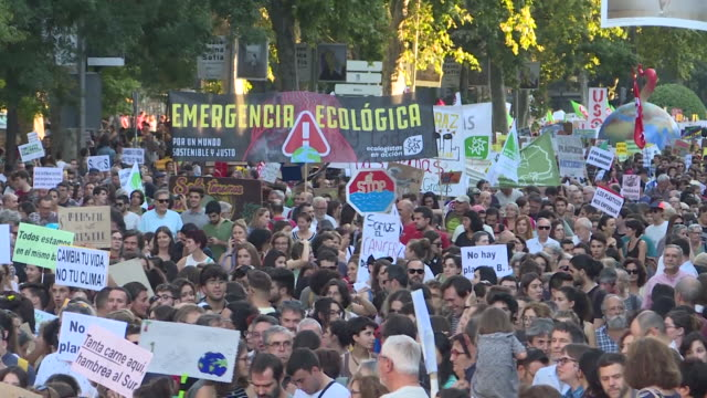 thousands of young people and students have protested this friday for the defense of the climate in madrid as part of a worldwide organised movement... - friday stock videos & royalty-free footage