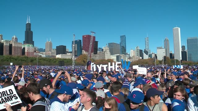 thousands packed into grant park during chicago cubs world series victory rally on nov. 4, 2016. - baseball world series stock videos & royalty-free footage