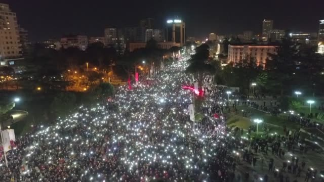 thousands protest in albania's capital city tirana against a leftwing government that they accuse of trying to take control of the judiciary - tirana stock videos & royalty-free footage