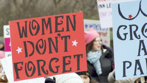 thousands rallied for the nyc women's march 2020 on manhattan's upper west side near the trump international hotel & tower new york. participants... - frauenrechte stock-videos und b-roll-filmmaterial
