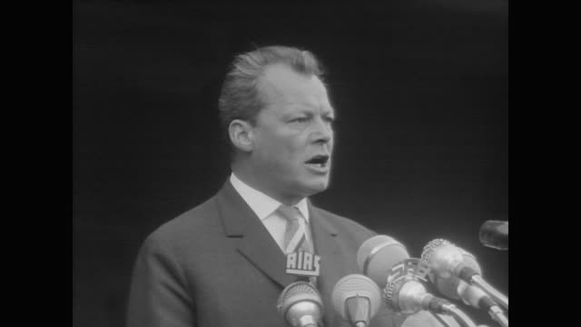 thousands rally in west berlin with mayor willy brandt to protest construction of berlin wall - westberlin stock-videos und b-roll-filmmaterial