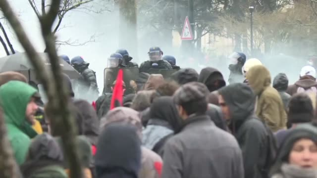 thousands take to the streets of nantes on the fourth inter professional day of strikes and demonstrations against pension reform - nantes stock videos & royalty-free footage