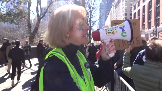thousands turned out to say not my president today on president's day near columbus circle nyc videos of people chanting interview with performance... - marni stock videos & royalty-free footage