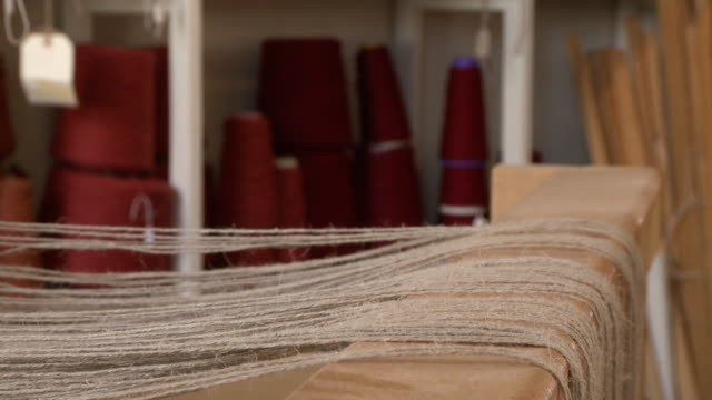 threads on a loom ready to be woven - pedal stock videos & royalty-free footage
