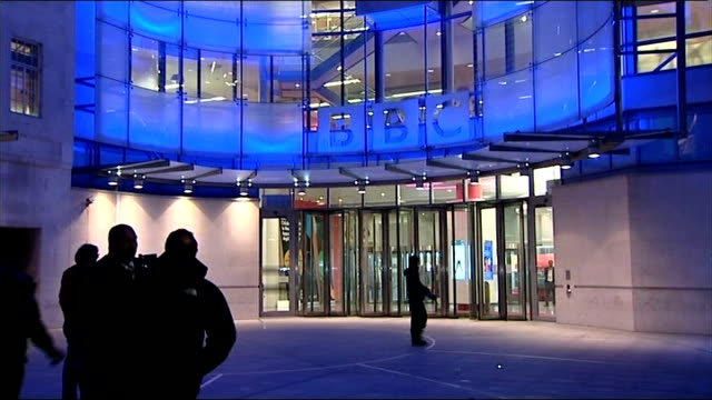 bbc threatened with licence fee cut by grant shapps london entrance to new broadcasting house bbc sign over entrance - fee stock videos & royalty-free footage