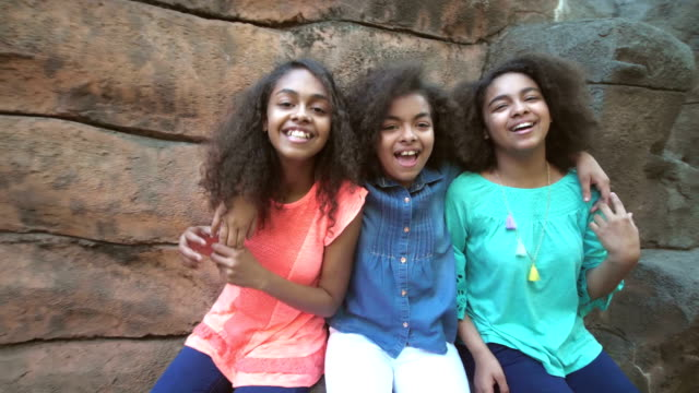three african-american sisters having together, laughing - 12 13 years stock videos & royalty-free footage