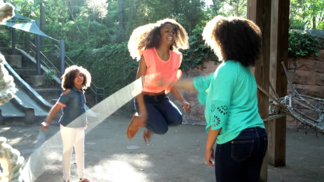 three african-american sisters jumping rope - girls stock videos & royalty-free footage