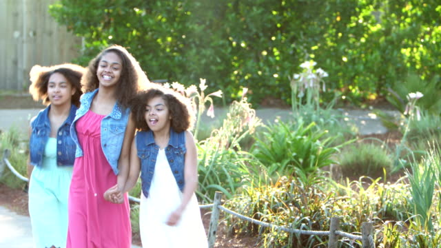 three african-american sisters skipping in the park - 12 13 years stock videos & royalty-free footage