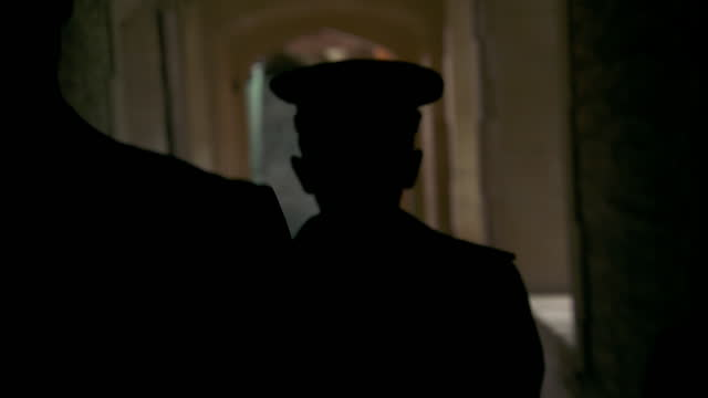stockvideo's en b-roll-footage met heinrich himmler walks down corridor - nazi-era historic reenactment - heinrich himmler