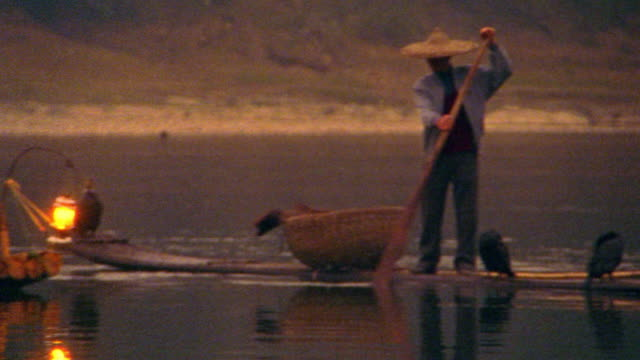 "pan three asian fishermen on ""sampan"" rafts with cormorant fishing birds + lanterns at dusk / china - sampan stock videos & royalty-free footage"