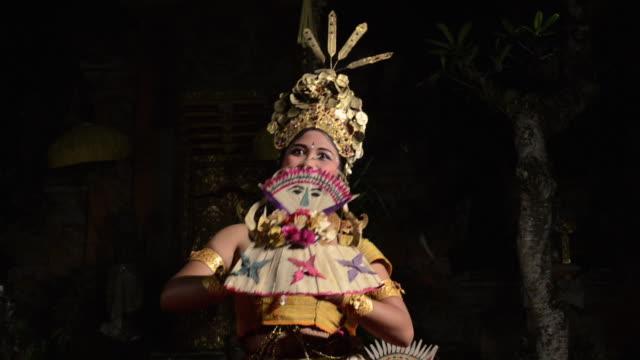 ms three balinese girl dancer are performing tari penyambutan dance ( goddess of moon ) in puri saraswati temple audio / ubud, bali, indonesia, asia - ubud district stock videos & royalty-free footage
