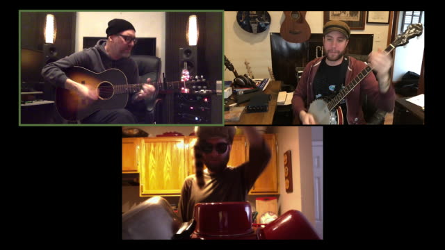 three bandmates practice their music together via video conference call. - arts culture and entertainment stock videos & royalty-free footage