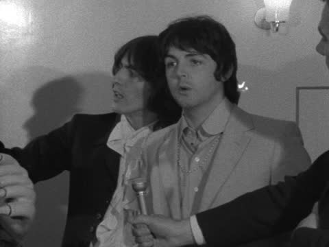 three beatles in london to launch their cartoon film 'yellow submarine'; england: london: bowater: knightsbirgde: int george harrison and paul... - zoom in stock videos & royalty-free footage