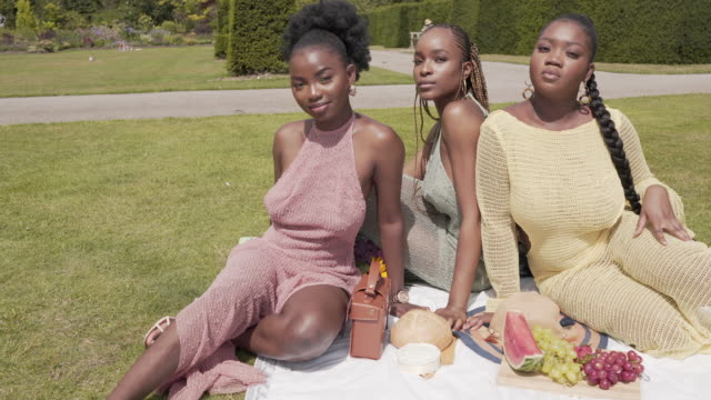 three beautiful young woman in the park in summer. - central london video stock e b–roll
