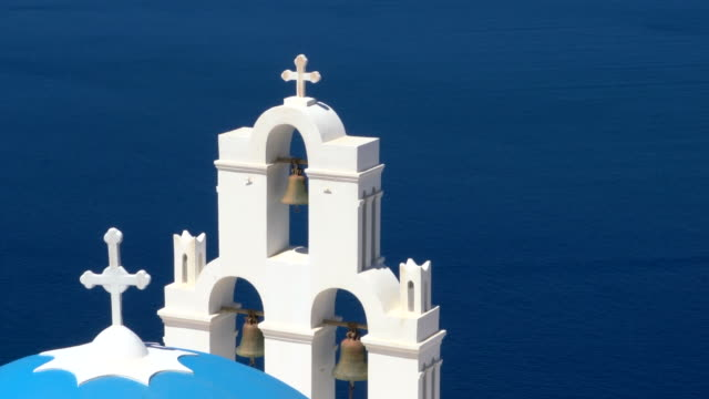three bells of fira at santorini island, greece - santorini stock videos & royalty-free footage