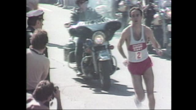 Three Boston Marathon wins by American male runners Bill Rodgers in1975 Alberto Salazar in 1982 and Greg Meyer in 1983 Split tracks nat on T1 and vo...