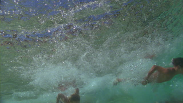 vídeos de stock e filmes b-roll de slo mo, ms, three boys (6-7, 8-9, 14-15) and woman diving in ocean waves, oahu's north shore, hawaii, usa - 8 9 anos