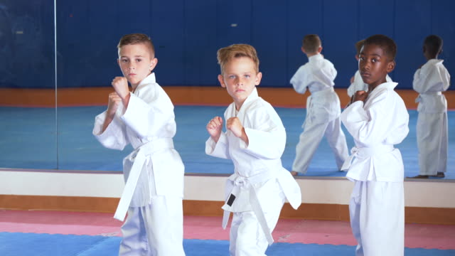 three boys in taekwondo class - 6 7 years stock videos & royalty-free footage