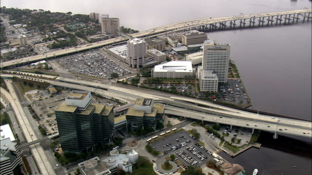 three bridges across st johns river at jacksonville  - aerial view - florida,  duval county,  united states - jacksonville florida stock videos and b-roll footage
