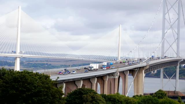 three bridges near edinburgh, fife county, scotland - edinburgh scotland stock videos & royalty-free footage