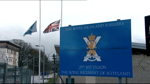 three british soldiers killed in helmand blast scotland penicuik ext flags flying at half mast and sign outside the glencorse barracks of the royal... - barracks stock videos & royalty-free footage