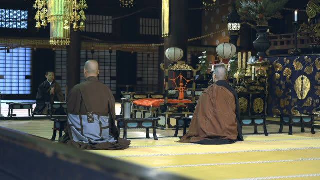 three buddhist monks praying in the japanese temple - tatami mat stock videos and b-roll footage