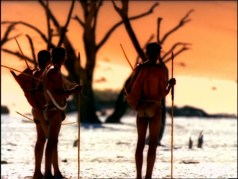 overexposed rear view three bushmen holding spears standing in desert / dead tree in background - overexposed stock videos & royalty-free footage