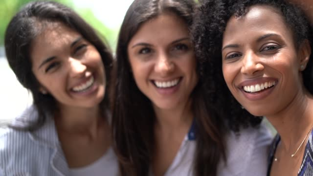 three business coworkers friends portrait - colleague hug stock videos & royalty-free footage
