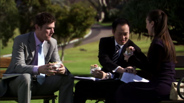 CU, Three business people eating sandwiches and talking in park, Sydney, Australia, PAN