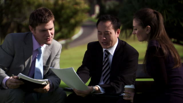 cu, three business people having meeting in park, sydney, australia - female with group of males stock videos & royalty-free footage