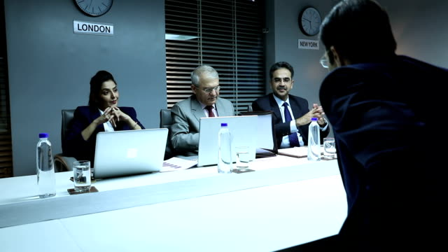 three business people taking interview in the office, delhi, india - job interview stock videos & royalty-free footage