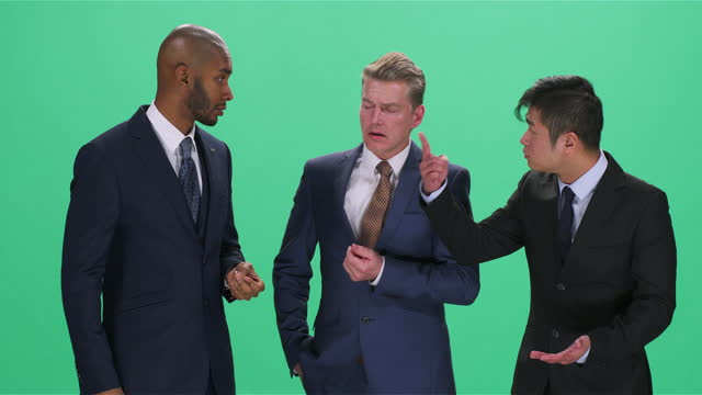 three businessman discussing and gesturing, greenscreen - full suit stock videos & royalty-free footage