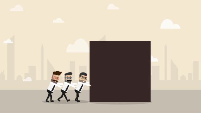 three businessman help each other to pushing big cube toward the ground (business concept cartoon) - small group of people stock videos & royalty-free footage