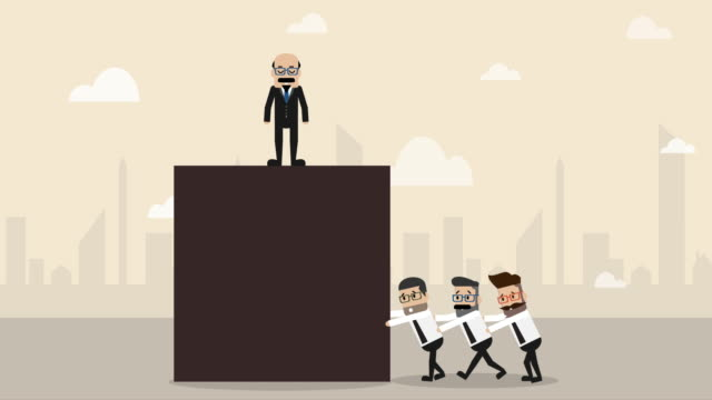three businessman help each other to pushing big cube toward the ground with boss commanding on top(business concept cartoon) - manager stock videos & royalty-free footage